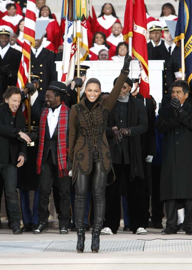 """2009:Beyonce strikes the balance between rock star diva and White House decorum at the Obama Inaugural Celebration At the Lincoln Memorial"""" presented exclusively by HBO on Sunday Jan. 18, 2009.  (Photo by Kevin Mazur/WireImage) Photo: Kevin Mazur, WireImage"""