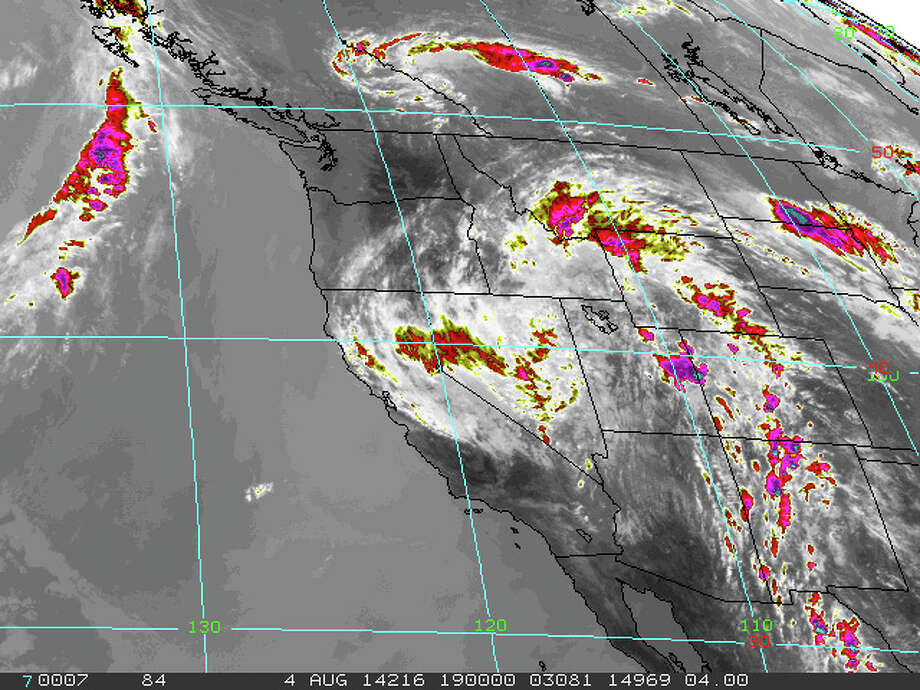 Infrared map of the Western United States at noon on Monday, Aug. 4th Photo: NOAA