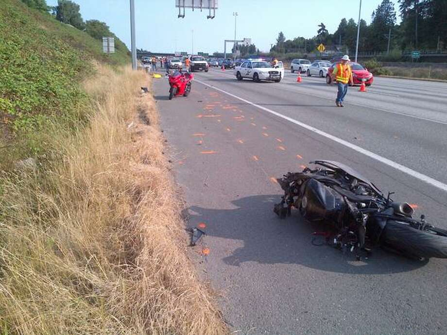 A 34-year-old Seattle man died Saturday afternoon at the scene where his motorcycle left the road on Interstate 5 near Tukwila and ejected him from the bike. Photo: State Patrol