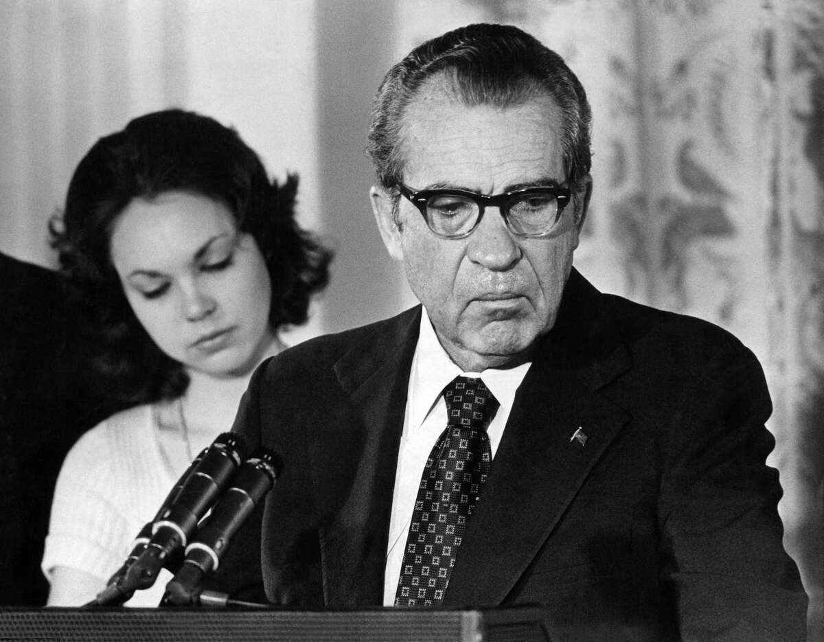 Julie Nixon Eisenhower literally stood behind her father, President Richard M. Nixon, as he left the White House in 1974, resigning in the face of impeachment.