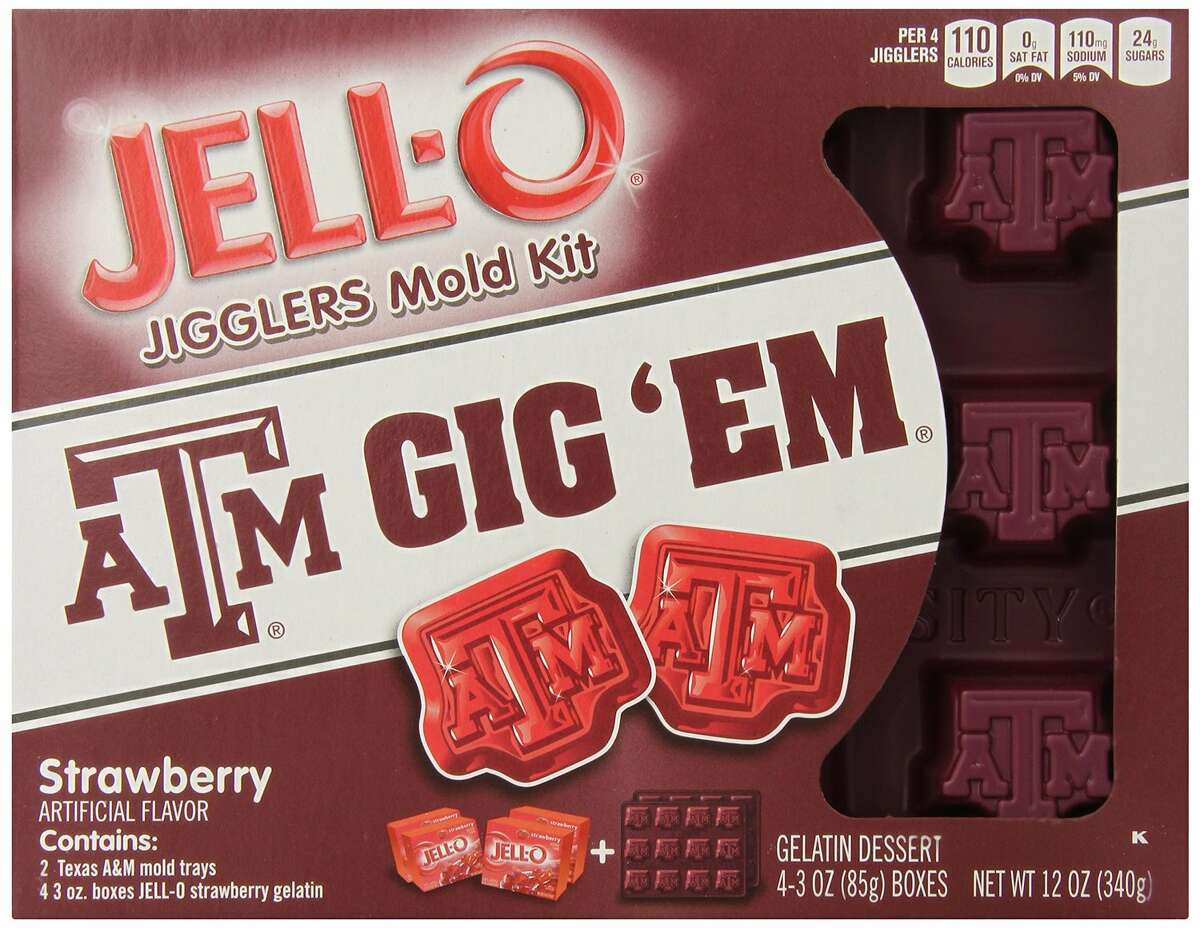 Just in time for tailgating season, Jell-O is now offering NCAA-licensed molds, including this design from Texas A&M University.
