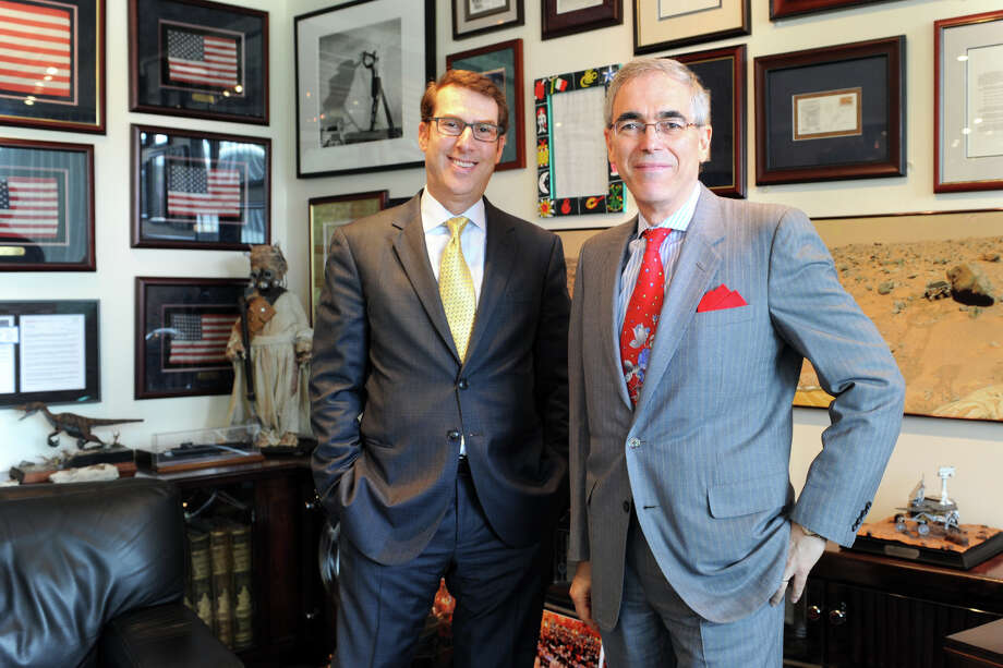 Jay Walker, Executive Chairman of Patent Properties, right, with Chief Executive Officer Jonathan Ellenthal, in Stamford, Conn. Aug. 4, 2014. Photo: Ned Gerard / Connecticut Post freelance