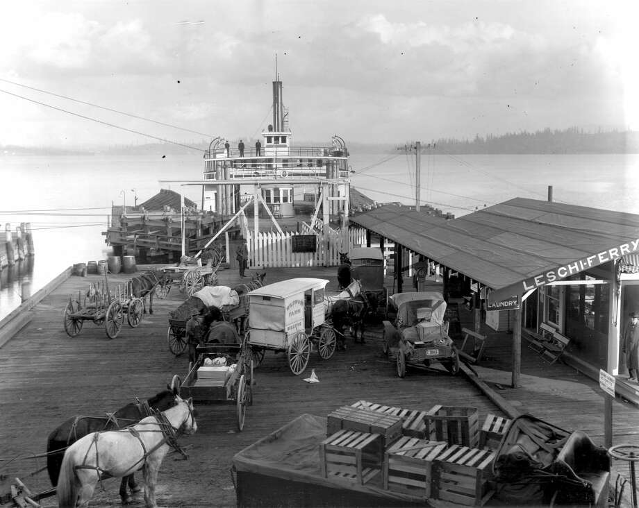 I thought animals weren't allowed above the car deck on Washington State Ferries, but I've seen them in passenger areas. What are the rules? Photo: Webster And Stevens Collection,  MOHAI