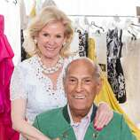 Fine Arts Museums board president Dede Wilsey with designer Oscar de la Renta at the League to Save Lake Tahoe fashion show fundraiser. August 2014. By Drew Altizer.