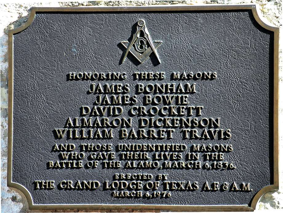 Many historic figures have been Masons, including some of Texas' most revered heroes. This plaque at the Alamo honors those who sacrificed for Texas independence. Photo: Courtesy