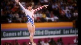 Mary Lou Retton of the United States in action on the balance beam during the Summer Olympics in Los Angeles, California. Mandatory Credit: Steve Powell  /Allsport