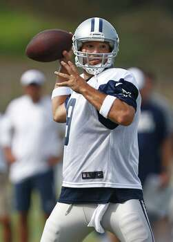 Dallas Cowboys quarterback Tony Romo (9) throws toward the end zone during the team's training camp on Sunday, Aug. 3, 2014, in Oxnard, Calif. (Ron Jenkins/Fort Worth Star-Telegram/MCT) Photo: Ron Jenkins, McClatchy-Tribune News Service / Fort Worth Star-Telegram