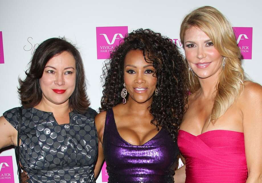 (L-R) Jennifer Tilly, Vivica A. Fox and Brandi Glanville attend Vivica A. Fox's 50th birthday celebration at Philippe Chow on August 2, 2014 in Beverly Hills, California. Photo: Paul Archuleta, FilmMagic