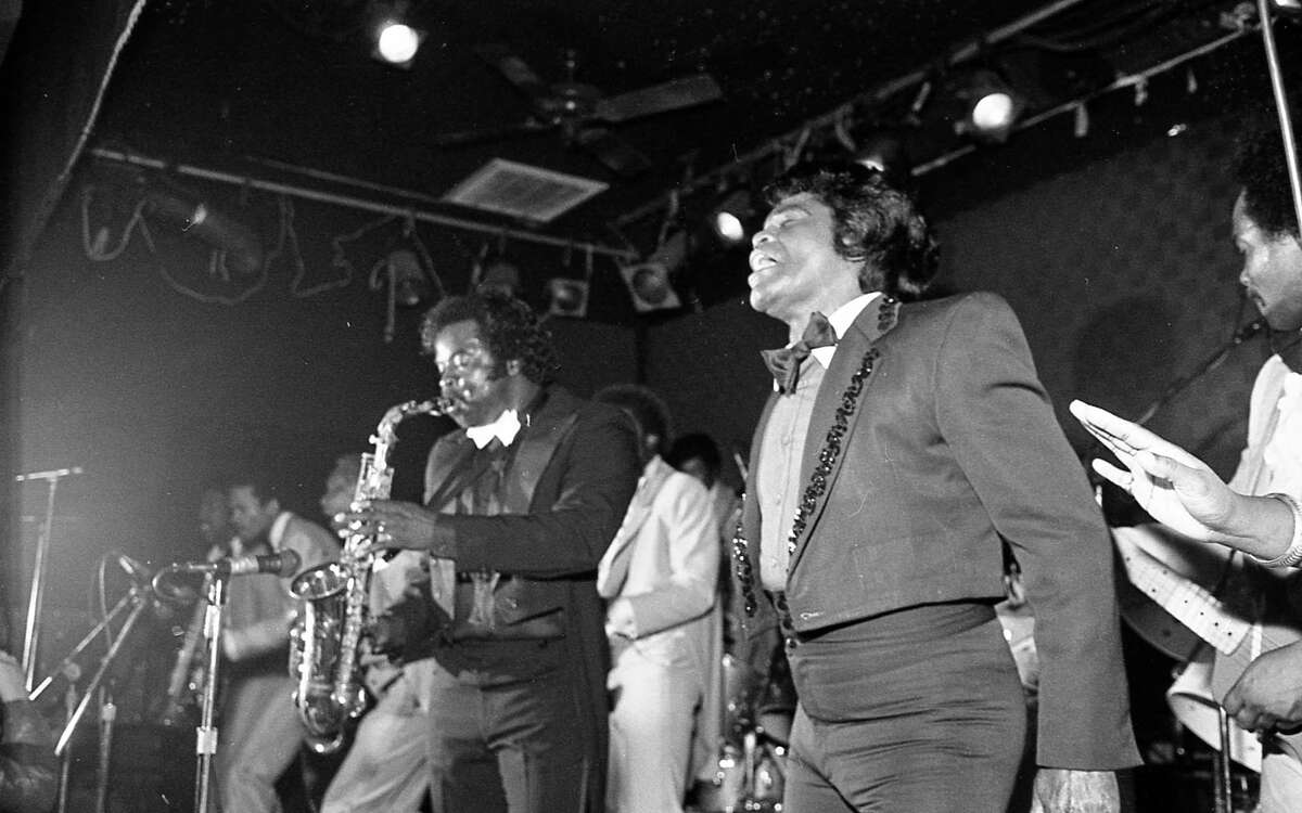 Entertainer James Brown during his engagement at Fitzgerald's in 1985.