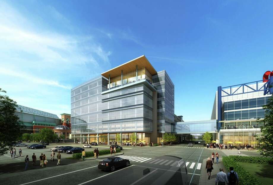 Artist rendering of the 10-story Greater Houston Partnership Building, set to open in 2016. The building will feature views of Discovery Green, the Marriott Marquis and other hotels, landscaped walkways and sidewalk cafes, the convention center's glassy new facade and the downtown skyline beyond. Photo: WHR Architects