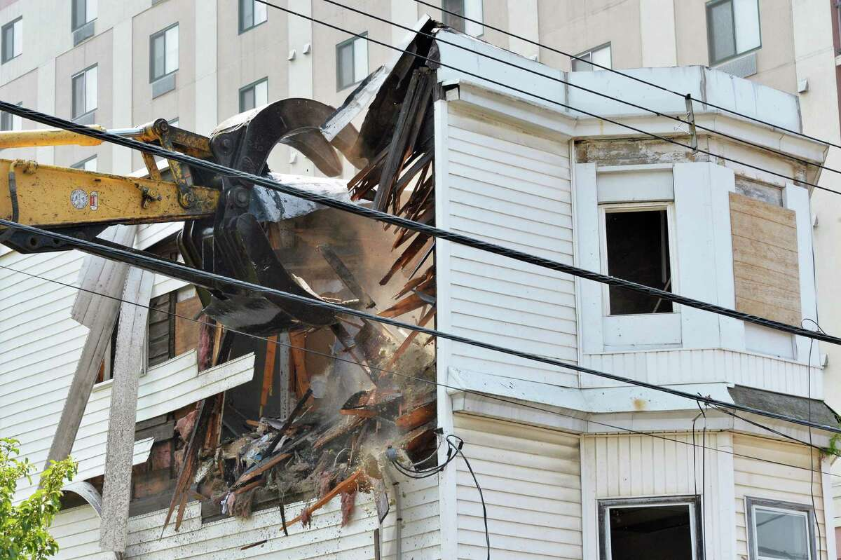 The house at 722 Eastern Avenue is demolished Friday August 1, 2014, in Schenectady, NY. (John Carl D'Annibale / Times Union)