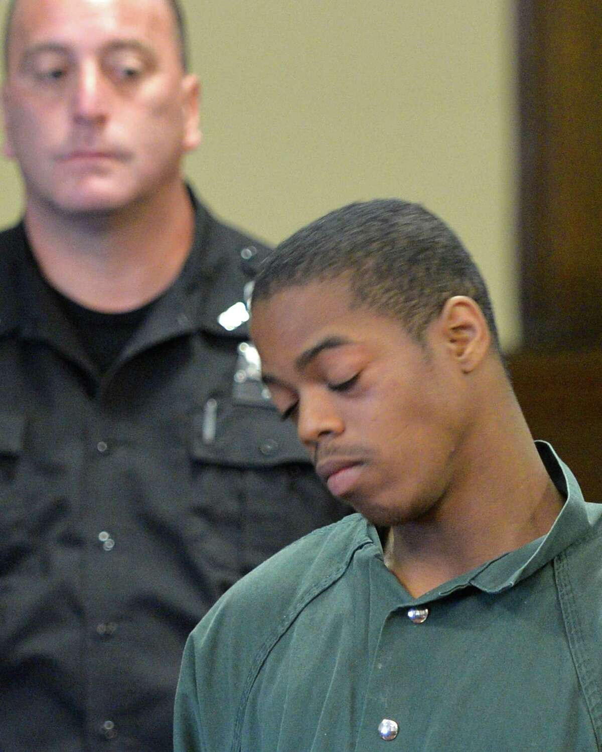 Defendant Xavier Parker is arraigned on murder charges in Rensselaer County Court Monday morning, Aug. 5, 2014, in Troy, N.Y. (Skip Dickstein/Times Union)