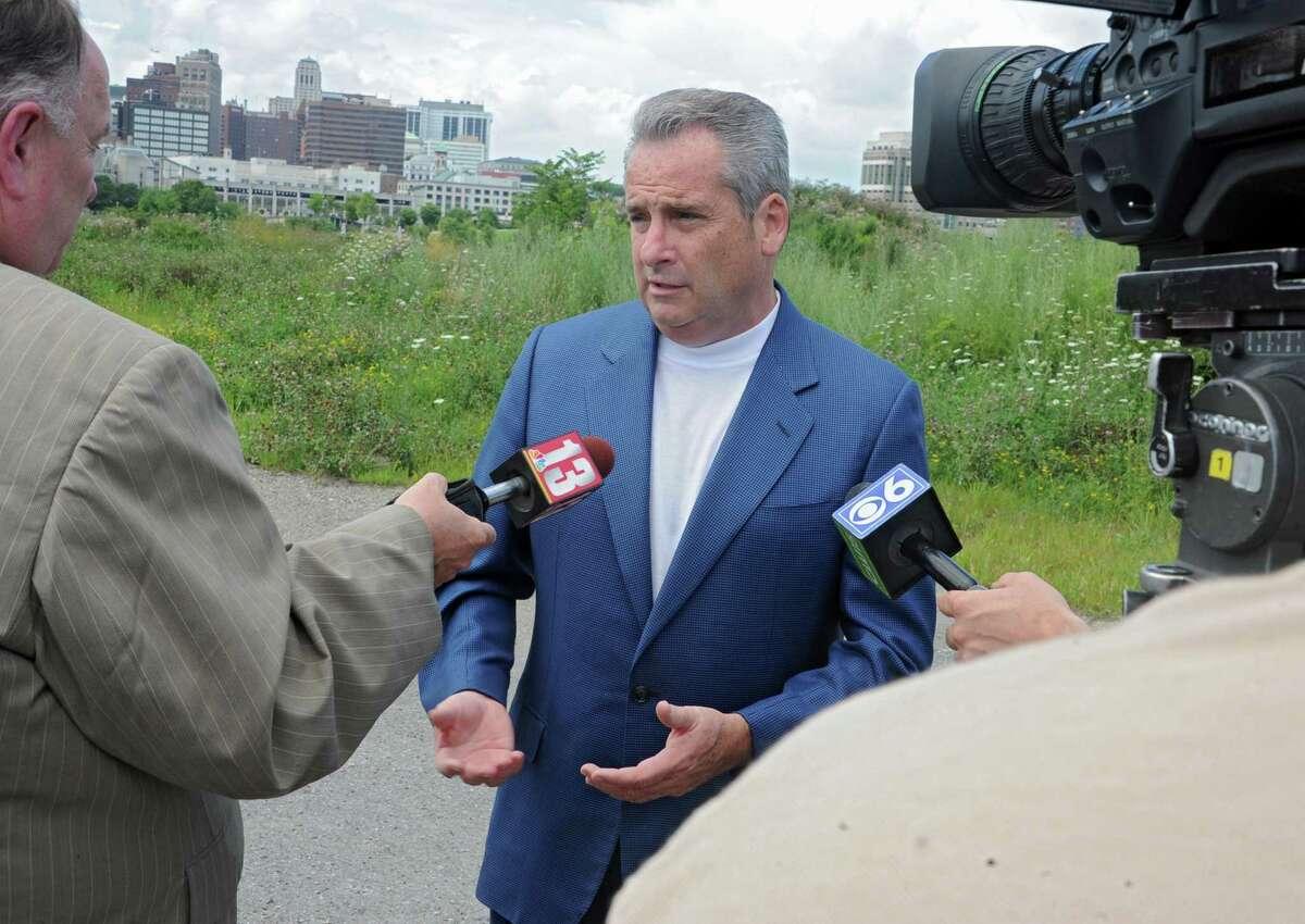 James Allen, chairman Hard Rock International, holds a press conference to discuss details of Hard Rock Casino plans for DeLaet's Landing site in Rensselaer on Monday, Aug. 4, 2014 in Rensselaer, N.Y. (Lori Van Buren / Times Union)