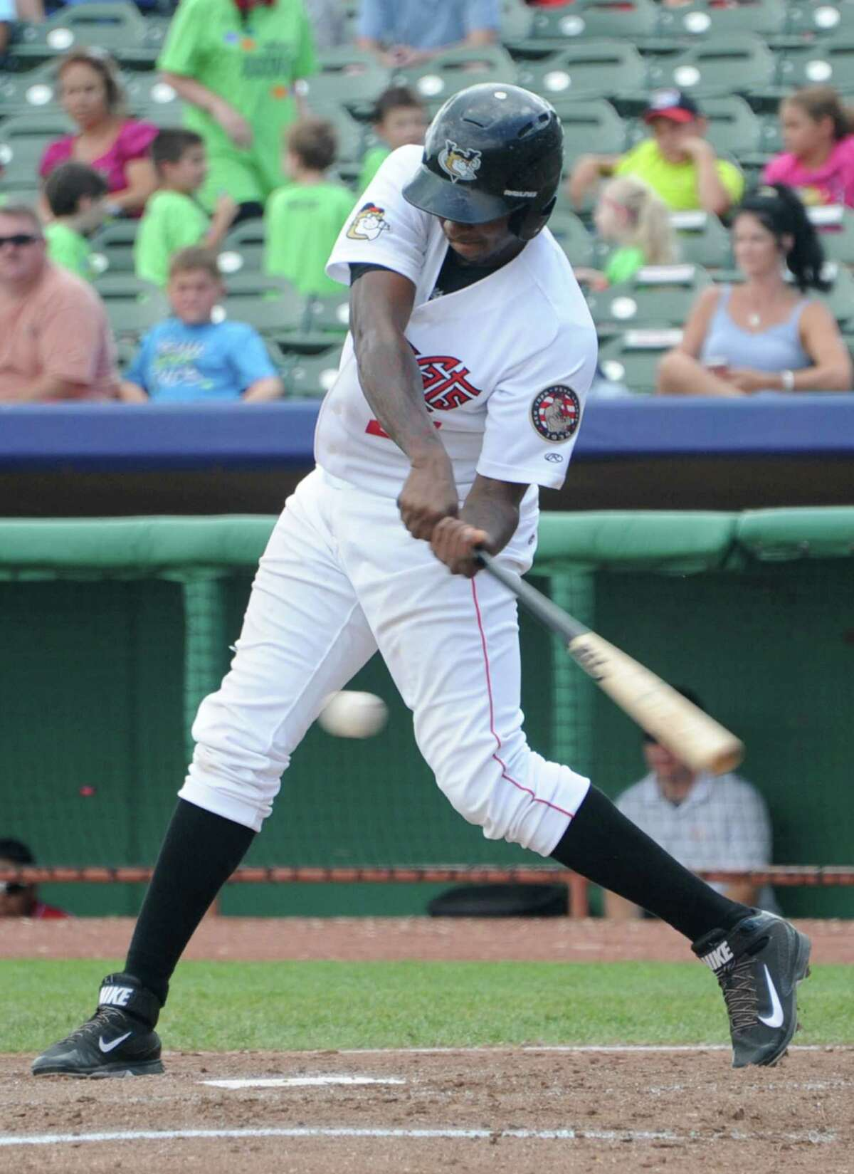 Tri-City ValleyCats right fielder Ariel Ovando connects with the ball for a single during a game against the Batavia Muckdogs at the Joe Bruno Stadium on Monday, Aug. 4, 2014 in Troy, N.Y. (Lori Van Buren / Times Union)