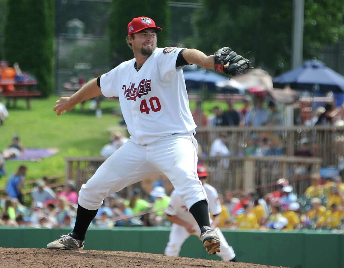 Tri-City ValleyCats pitcher Austin Chrismon throws the ball during a baseball game against the Batavia Muckdogs at the Joe Bruno Stadium on Monday, Aug. 4, 2014 in Troy, N.Y. (Lori Van Buren / Times Union)