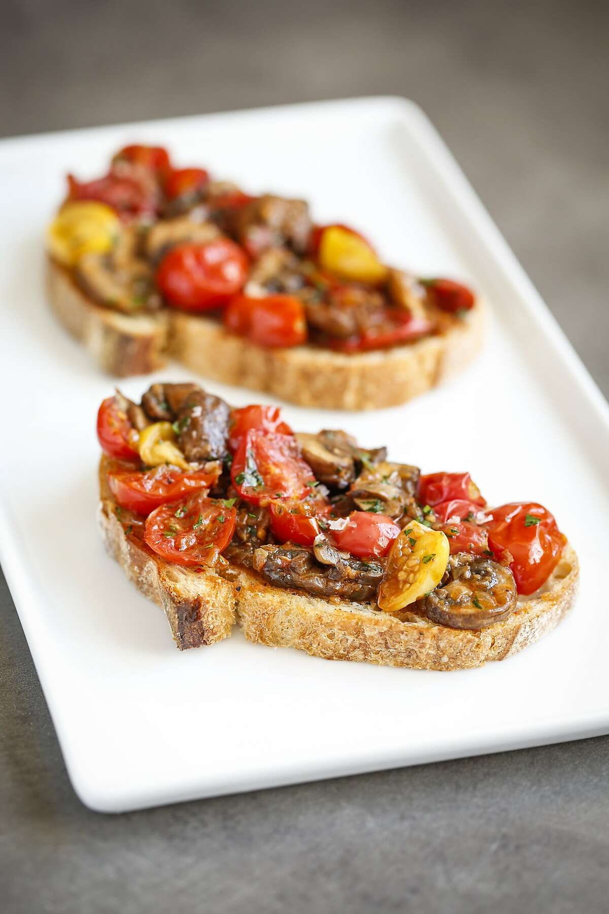 Cherry Tomato and Mushroom Bruschettas,