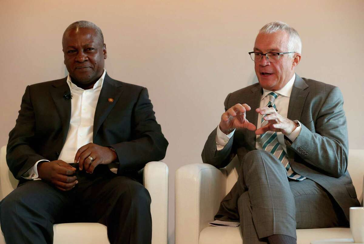 WASHINGTON, DC - AUGUST 04: President of Ghana, H.E. John Dramani Mahama (L) and Jay Ireland, President and CEO of GE Africa, participate in a discussion about expanding access to power sources across Africa, at the Newseum, August 4, 2014 in Washington, DC. This week leaders from across the African continent are visiting Washington for a three day U.S-Africa Leaders Summit to build strength between the United States and Africa. (Photo by Mark Wilson/Getty Images) ORG XMIT: 505140143