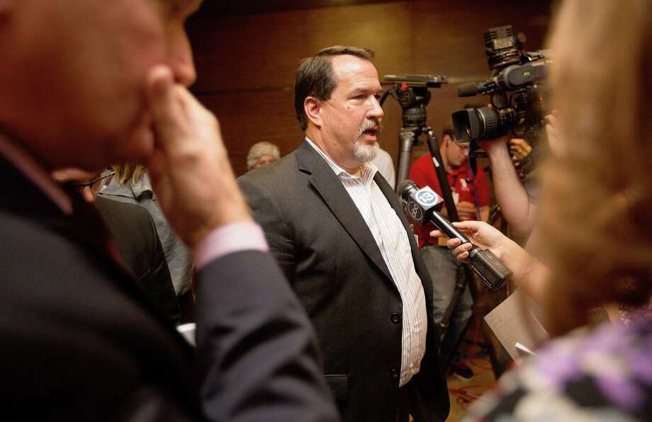 Rev. Dave Welch, executive director of the Texas Pastor Council addresses the media after Mayor Annise Parker, City Attorney, David Feldman, and Council Member Ellen Cohen announced that the petition to repeal the Houston Equal Rights Ordinance adopted by the City Council in May has fallen short of the number of signatures required due to errors in the signature collection process Monday, Aug. 4, 2014, in Houston. 