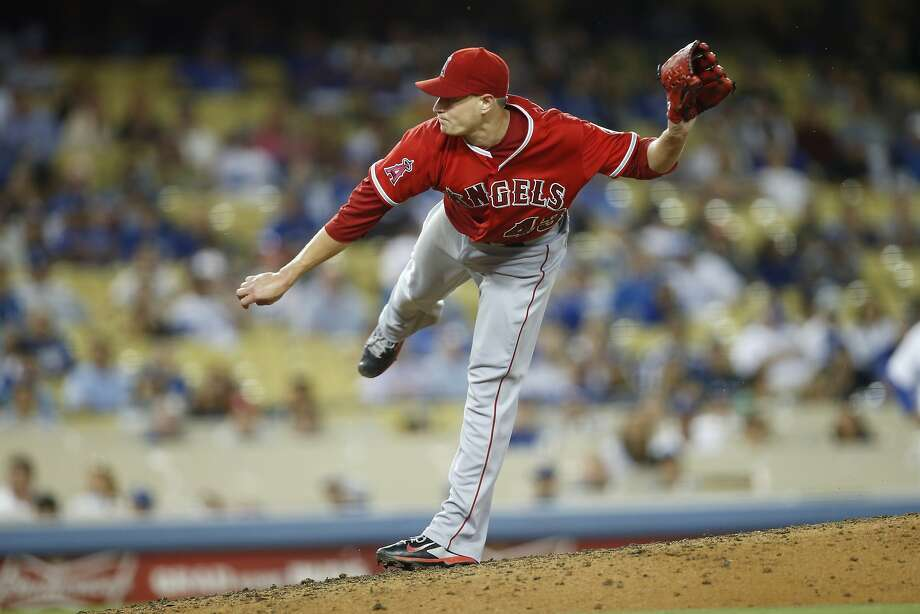 Garrett Richards pitched a five-hitter Monday night for his first career shutout to lead the Los Angeles Angels to a 5-0 victory over the host Dodgers. Photo: Danny Moloshok, Associated Press