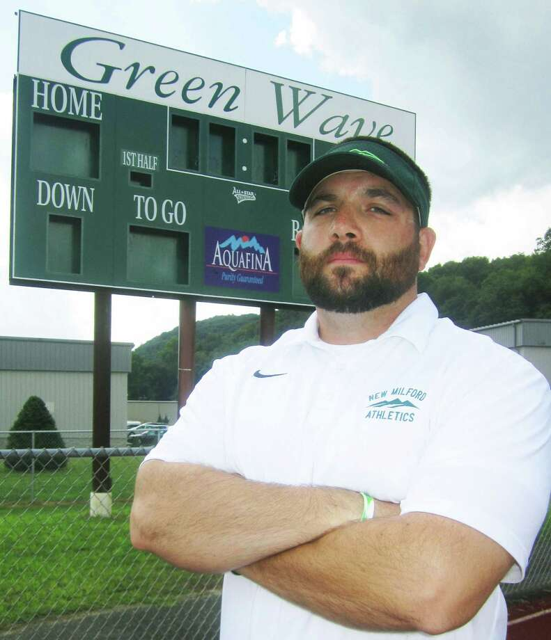 Larry Badaracco takes the reins as head coach of New Milford High School football. August 2014 Photo: Norm Cummings / The News-Times