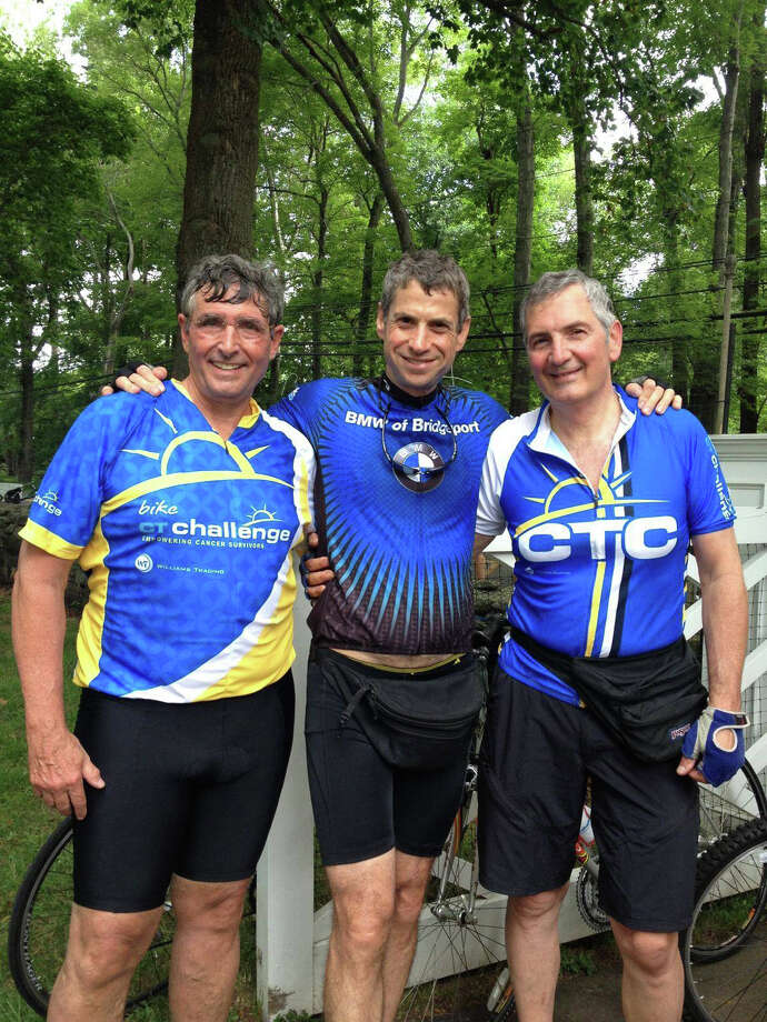 Three physicians from Coastal Orthopaedics, which has offices in New Canaan and Darien, rode in the CT Challenge July 25 and 26. From left, Jeffrey V. DeLuca, Jay Kleeman and Nicholas Polifroni. Photo: Contributed Photo, Contributed / New Canaan News Contributed
