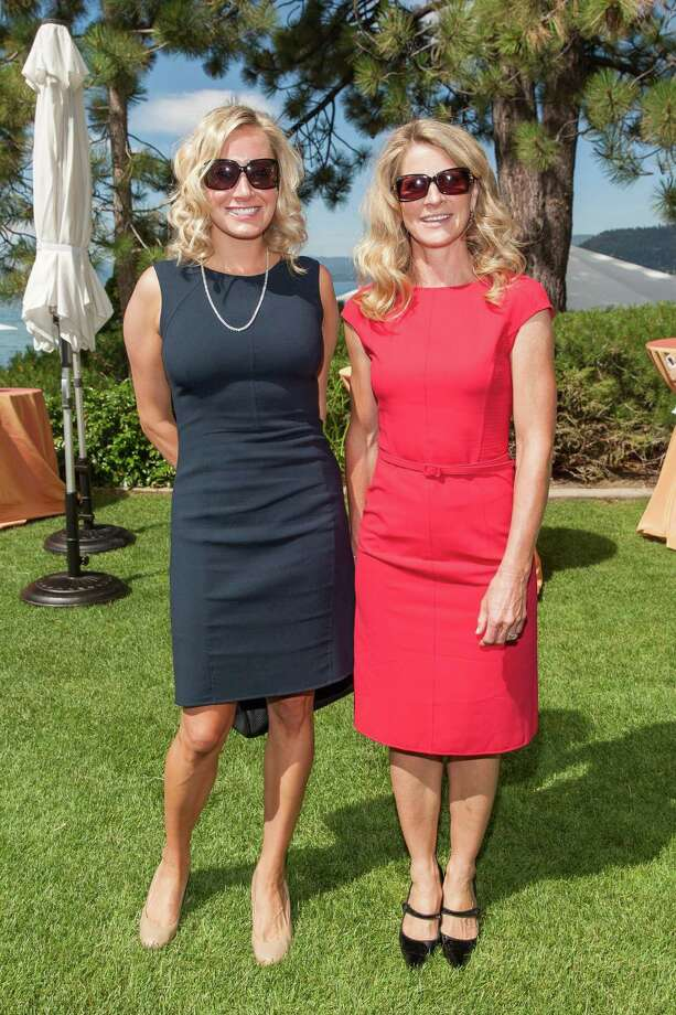 Katie Anderson and Tamera Bunnett at the Oscar de la Renta Resort 2015 fashion show presented by Saks Fifth Avenue and The League to Save Lake Tahoe at Incline Village in Lake Tahoe on August 2, 2014. Photo: Drew Altizer Photography/SFWIRE, Drew Altizer Photography / © Drew Altizer Photography 2014