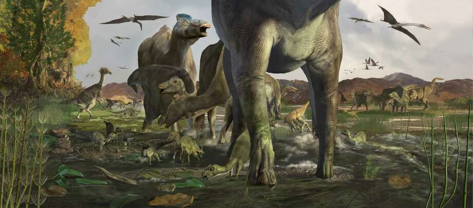 A rendering of what the herd of Hadrosaurs would have looked like as they ranged across North America. Photo: Karen Carr