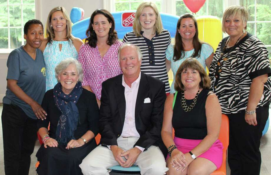 Board members from Opus and Person-to-Person gather at their annual Campership Picnic for local children with executives from ROSCCO Stamford Schools Community Organization and event sponsors The Home Team. From row from left, Ceci Maher, Person-to-Person executive director; Doug Milne; and Sheree Frank, of The Home Team. Second row, Sheila Glenn, ROSCCO director of family support programs; Elizabeth Hole and Caroline Gallagher, Opus co-presidents; Tasha Blair, Balloon Day board liaison; Sarah Cara, Opus co-president; Audette Bisaillon, ROSCCO director of before- and after-school programs. Photo: Contributed Photo, Contributed / Darien News