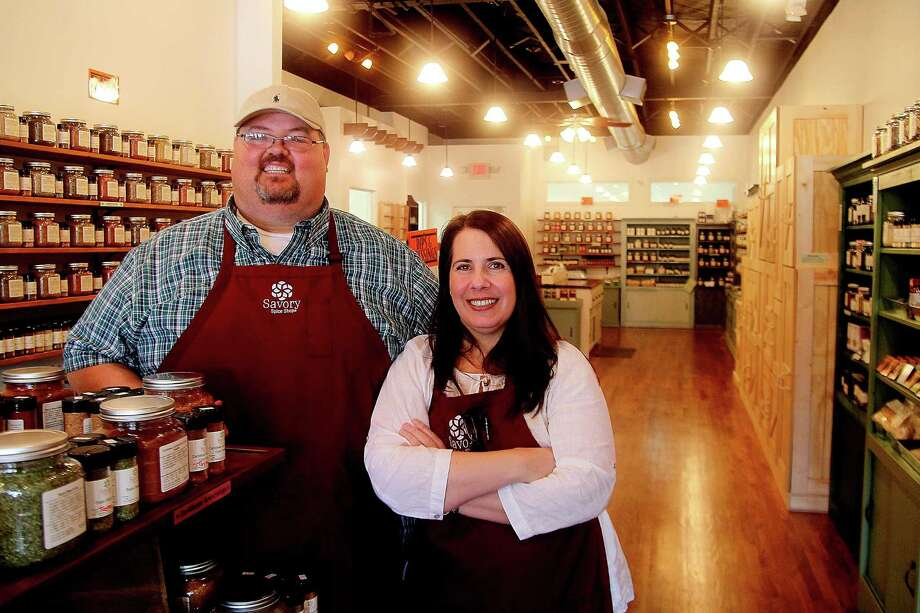 Randall and Michelle Halbert opened the Savory Spice Shop in Rice Village in July. Photo: Pin Lim, Freelance / Copyright Pin Lim.