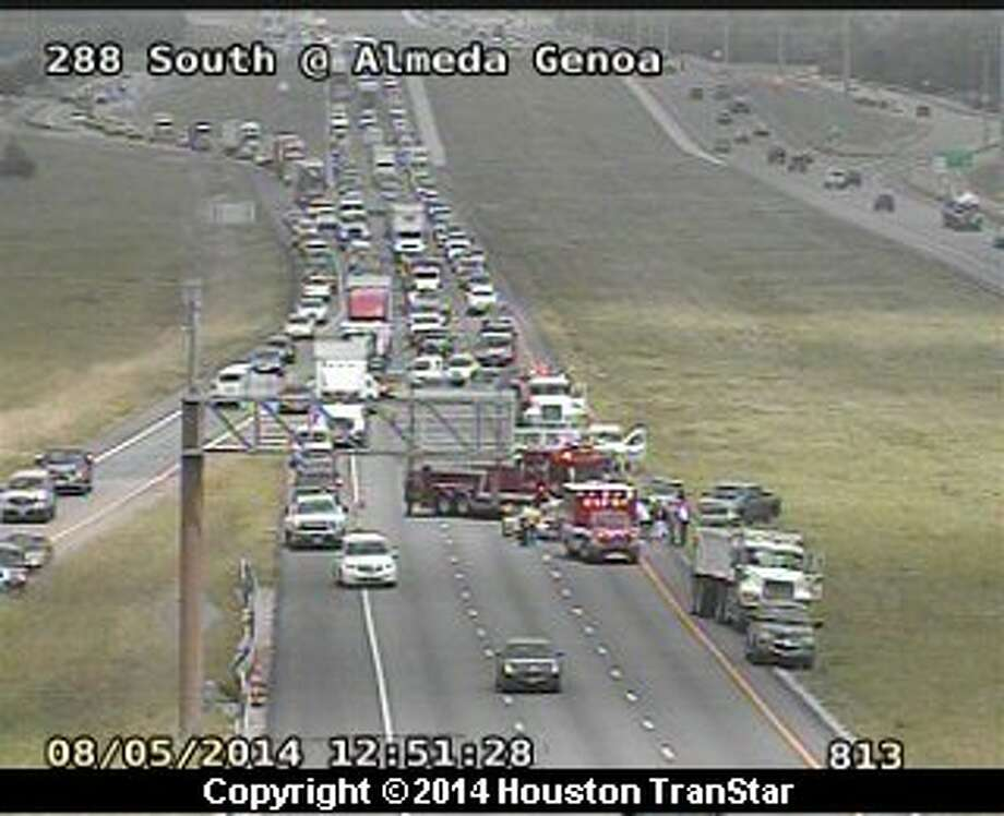A crash snarled traffic Tueasday afternoon on portions of U.S. 288 in south Houston, forcing officials to temporarily shutdown the freeway. (Houston TranStar)