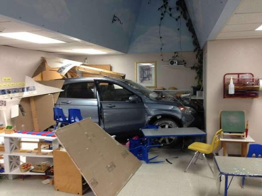 An SUV plowed through a Bellevue Montessori school for kids ages 3 to 5 Tuesday morning. No one was hurt. Photo: Bellevue Police Department
