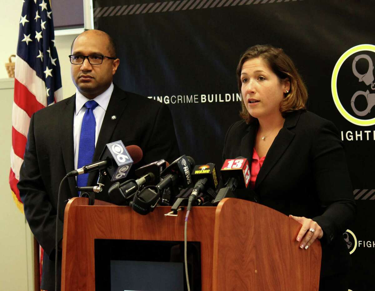 Former Assistant District Attorney Chantelle Cleary, right, is facing criticism from an appeals court over a case she handled as the University at Albany's Title IX coordinator.In this photograph, Albany District Attorney David Soares, left, and Cleary, right, discuss the issue of prostitution and sex trafficking in Albany County Tuesday morning, Aug. 5, 2014, during a press conference in Albany N.Y. (Selby Smith/Special to the Times Union)