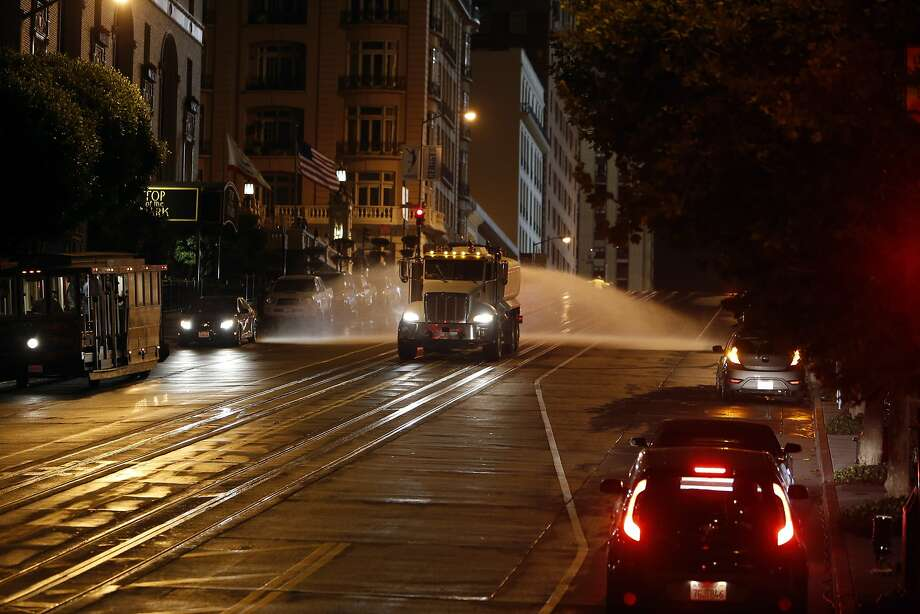 California St. is watered down in preparation for an action scene during filming of Terminator: Genesis in San Francisco, Calif. on Monday, August 4, 2014. Photo: Scott Strazzante, The Chronicle
