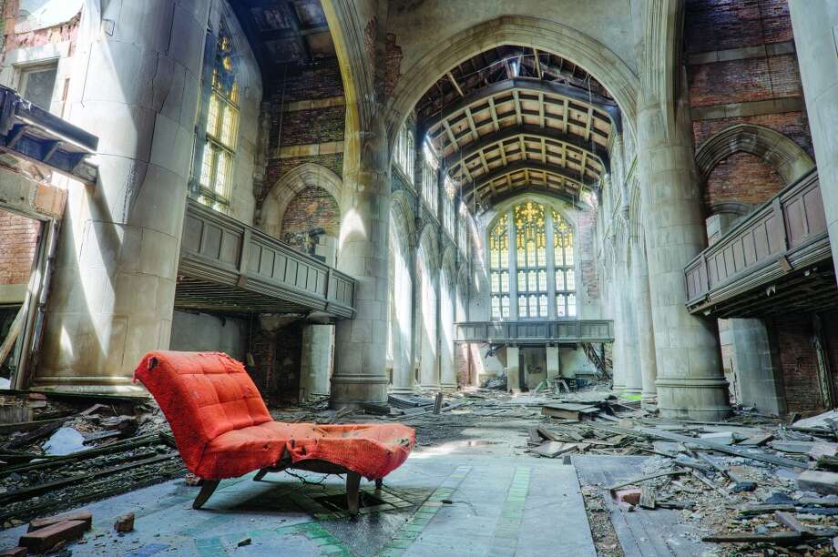 The nine-story, English Gothic-style City Methodist Church in Gary, Ind., was completed in 1925 at a cost of more than $1 million, with over half the financial contributions coming from the United States Steel Corp. Photo: Eric Holubow