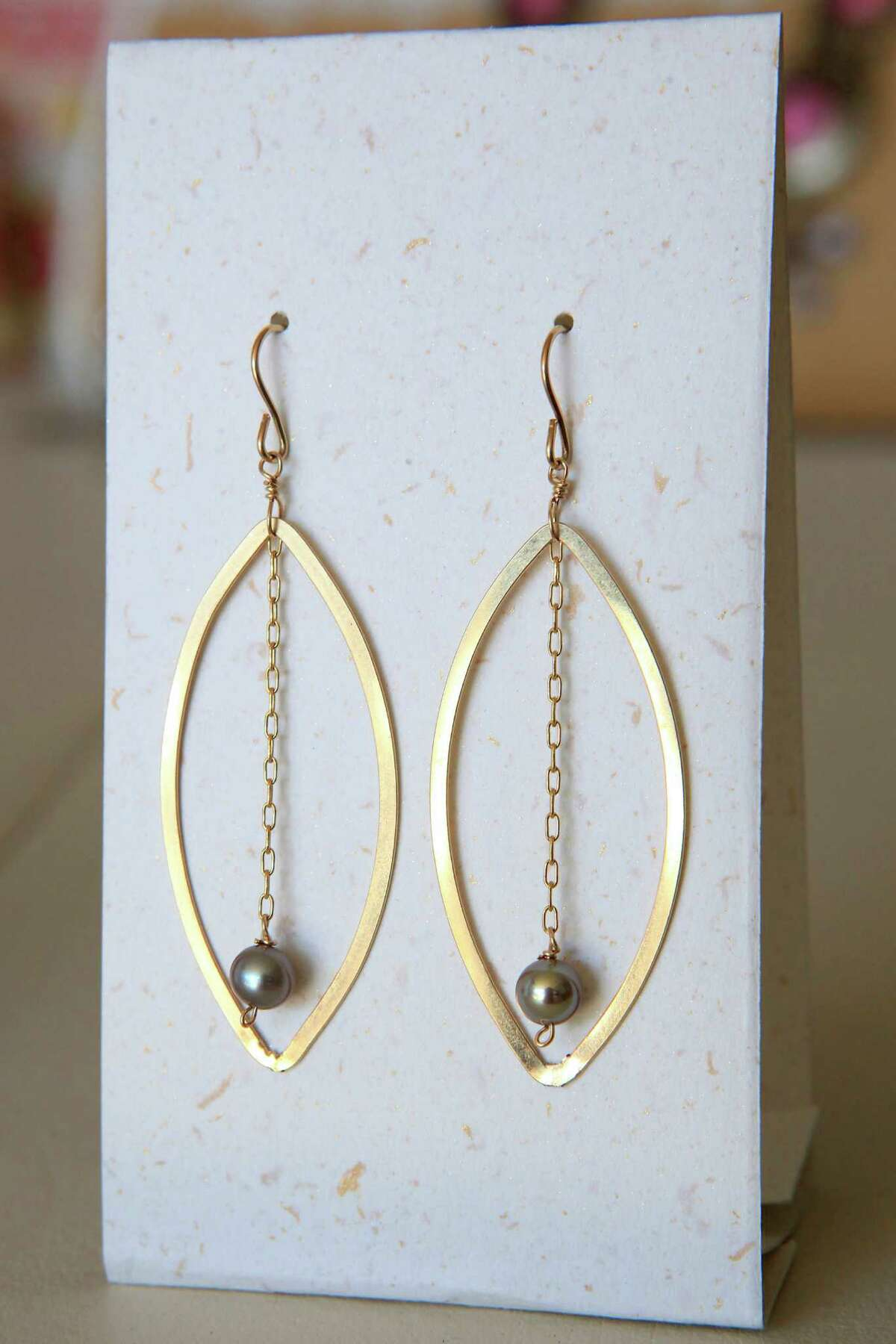 Jewelry by designer Kimberly Jo-Vogel, including these earrings, can be found at Hourglass Boutique in San Mateo.