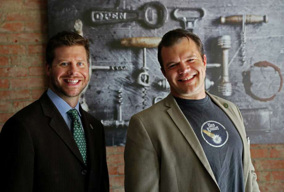"David Keck, left, wine director at Camerata, and Ben Roberts are co-founders of the Houston Sommeliers Association. ""Wine is my passion, not just my job,"" Roberts says. ""I get a lot personally from seeing my industry move forward."" Photo: Gary Coronado, Staff / © 2014 Houston Chronicle"