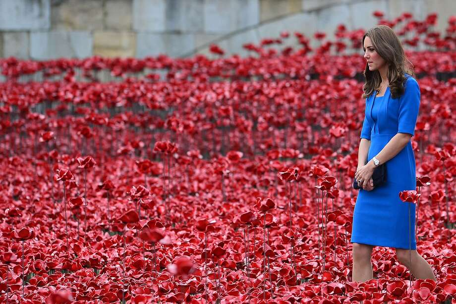 "Kate among the poppies: Catherine, Duchess of Cambridge, walks through the Tower of London's ""Blood Swept Lands and Seas of 