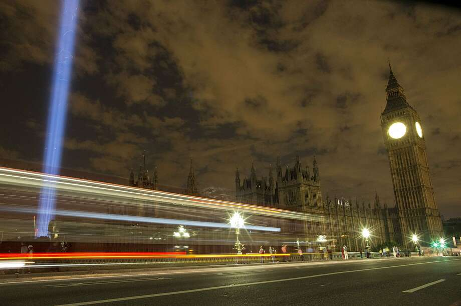 Lights out, England:A kingdom-wide lights-out commemoration darkens London's Houses of Parliament, as Britain marks 100   years since the outbreak of World War I. Photo: Justin Tallis, AFP/Getty Images