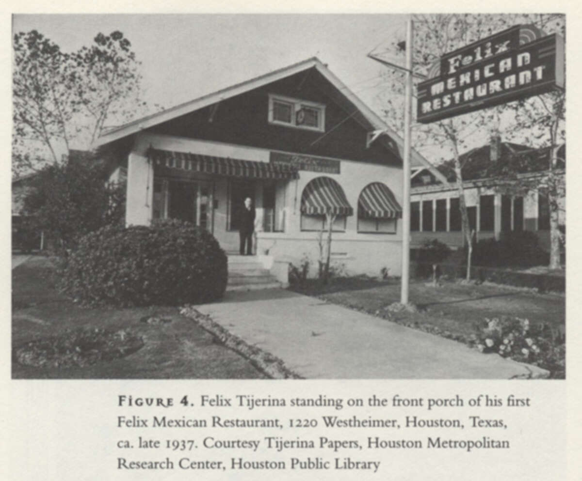 Felix Tijerina on the front porch of his first Felix Mexican Restaurant, 1220 Westheimer, circa late 1937. He'd lost an earlier restaurant during the Depression.