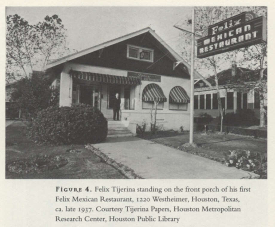 "Felix Tijerina on the front porch of his first Felix Mexican Restaurant, 1220 Westheimer, circa late 1937.  He'd lost an earlier restaurant during the Depression. ""He figured out that you sold something to people who had money to buy, "" said his biographer, Thomas Kreneck. ""He opened his restaurant on Westheimer,  near River Oaks"" -- becoming one of Houston's first ""Mexican"" restaurants to target Anglo patrons. (Courtesy Tijerina Paper, Houston Metropolitan Research Center, Houston Public Library.     Scanned from book ""Mexican American Odessy,"" by Thomas H. Kreneck.) Photo: Mexican American Odyssey / handout book scan"