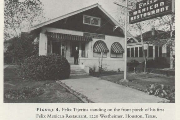 "Felix Tijerina standing on the front porch of his first Felix Mexican Restaurant, 1220 Westheimer, Houston, Texas, circa late 1937.  Courtesy Tijerina Paper, Houston Metropolitan Research Center, Houston Public Library.     Scan from book ""Mexican American Odessy,"" by Thomas H. Kreneck.     HOUCHRON CAPTION (01/02/2002):  Felix Tijerina stands on the front porch of his first Felix Mexican Restaurant in 1937."