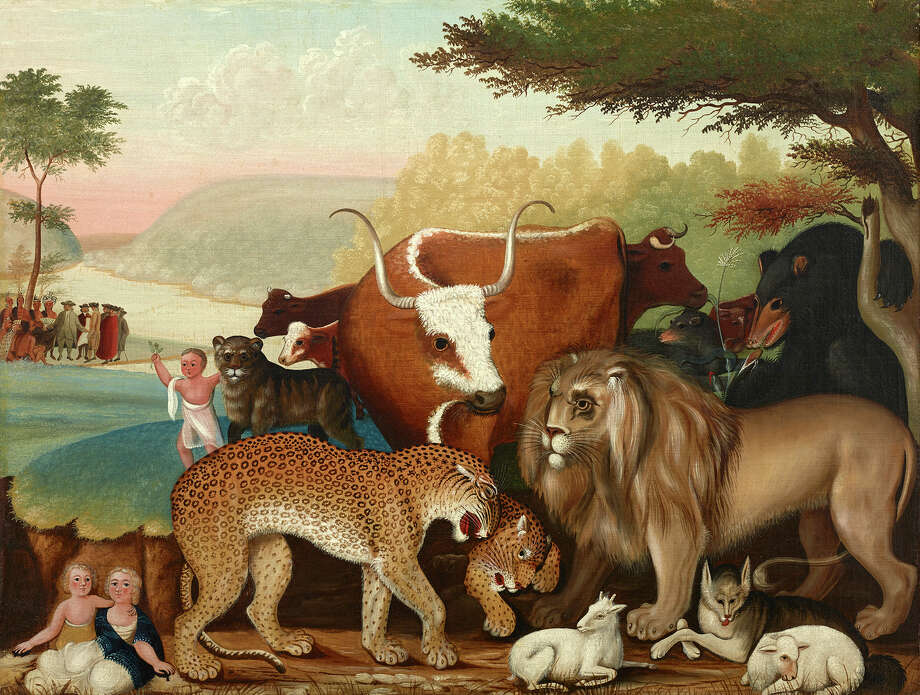 "An image of Edward Hicks's ""The Peaceable Kingdom,"" a masterpiece owned by the Dallas Museum of Art, appears through Aug. 31 on a Washington Avenue billboard through the outdoor program Art Everywhere U.S. (c. 1846-1847, oil on canvas, Dallas Museum of Art, The Art Museum League Fund) Photo: Dallas Museum Of Art / ONLINE_YES"