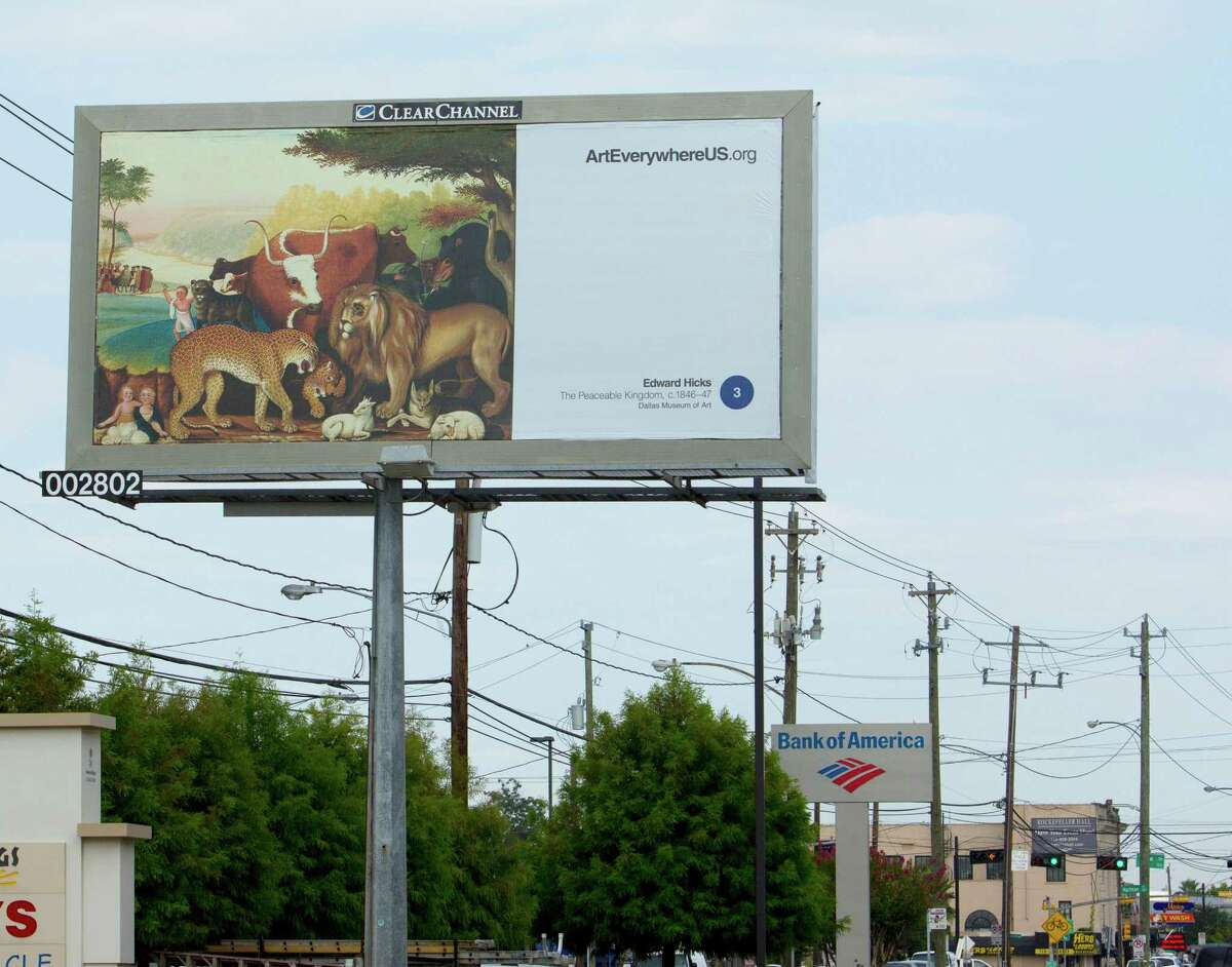 """A billboard featuring Edward Hicks' """"The Peaceable Kingdom"""" at Washington Avenue at Leverkuhn in Houston is part of Art Everywhere U.S., a celebration of America's artistic heritage through billboards."""