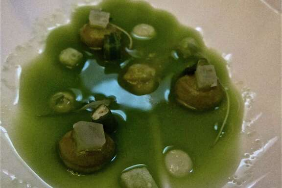 "The Roca brothers' 17-course dinner included this ""green salad"" that came in a shiny pool of cucumber juice."
