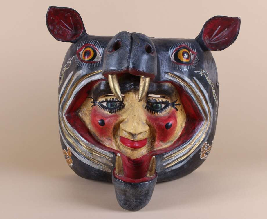"""Hippo and Man Mask"" is part of ""Dobles Vidas: Mexican Folk Art,"" a collaboration with the Mexican Museum, at the Gleeson Library, University of San Francisco. / ONLINE_YES"