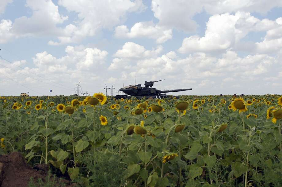 A Ukrainian army tank sits in a field of sunflowers outside the rebel-held city of Donetsk. Photo: Andrey Krasnoschekov, AFP/Getty Images