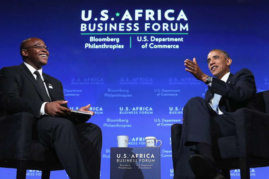 WASHINGTON, DC - AUGUST 05:  U.S. President Barack Obama engages in a question-and-answer session with Takunda Ralph Michael Chingonzo of Zimbabwe (L) during the U.S.-Africa Business Forum at the Mandarin Oriental Hotel August 5, 2014 in Washington, DC. Obama is promoting business relationships between the United States and African countries during the three-day U.S.-Africa Leaders Summit, where 49 heads of state are meeting in Washington.  (Photo by Chip Somodevilla/Getty Images) Photo: Chip Somodevilla, Getty Images
