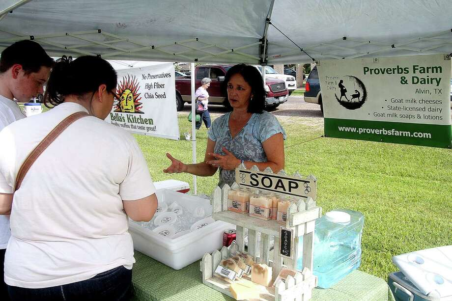 Tammy Kocurek of Proverbs Farm & Soap Shoppe is among the featured vendors at the Pearland Old Townsite Farmers Market at Zychlinski Park. The market is open 8 a.m.-noon the second and fourth Saturday of each month.Tammy Kocurek of Proverbs Farm & Soap Shoppe is among the featured vendors at the Pearland Old Townsite Farmers Market at Zychlinski Park. The market is open 8 a.m.-noon the second and fourth Saturday of each month. Photo: Pin Lim, Freelance / Copyright Pin Lim.