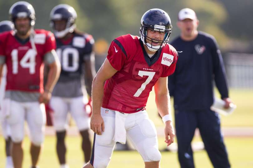 Day 10: August 5   Quarterback Case Keenum (7) calls a play.