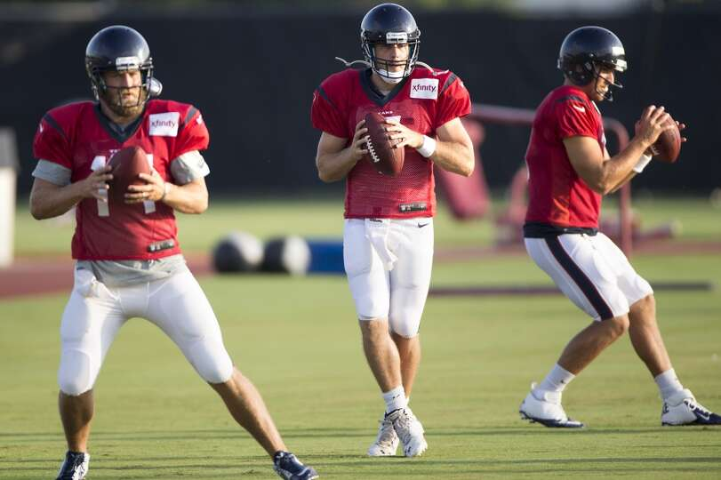 Quarterbacks Ryan Fitzpatrick (14), Case Keenum (7) and Tom Savage (3) drop back to pass.